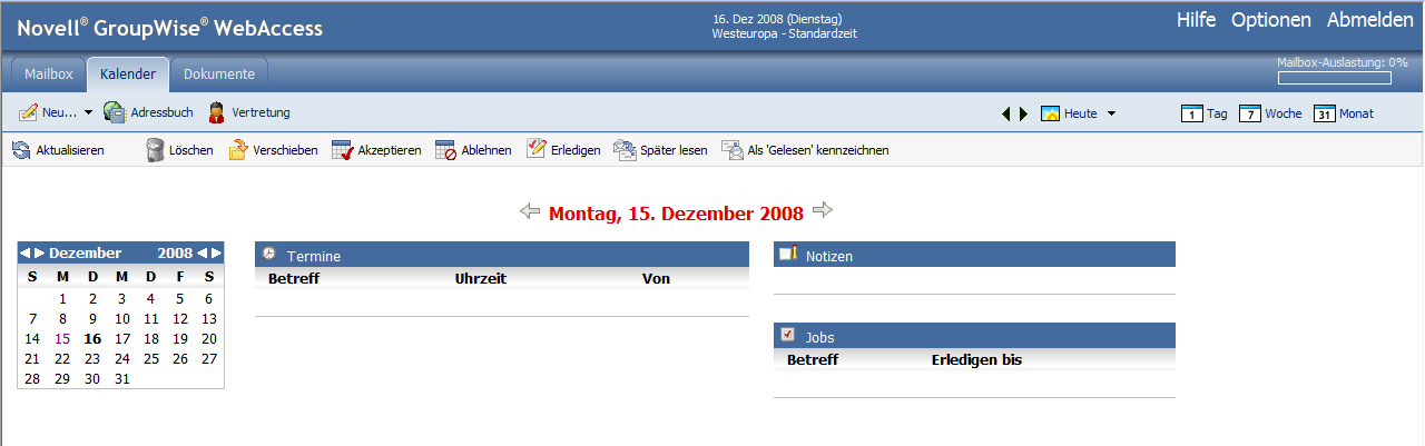 Screenshot Kalender